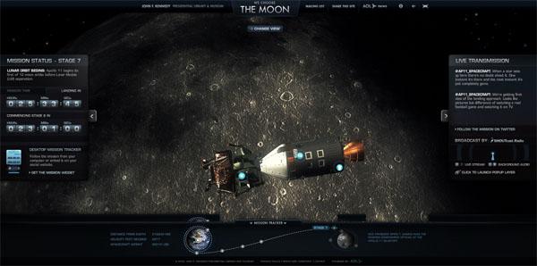 Die Mondlandefähre auf ihrem Weg zum Mond