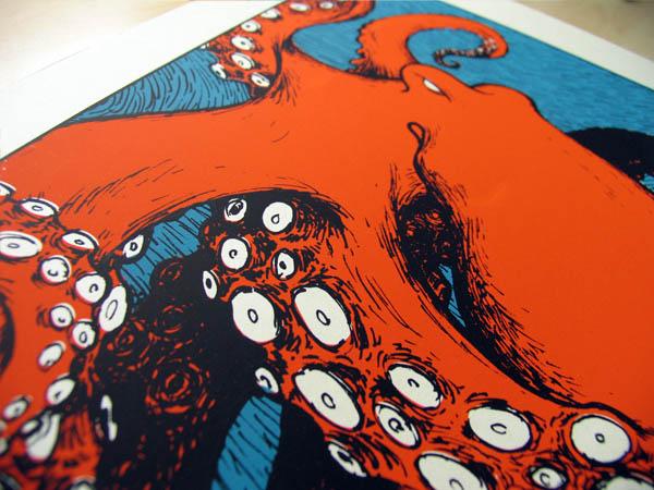 Siebdruck von Martin Burkhardt: Krake