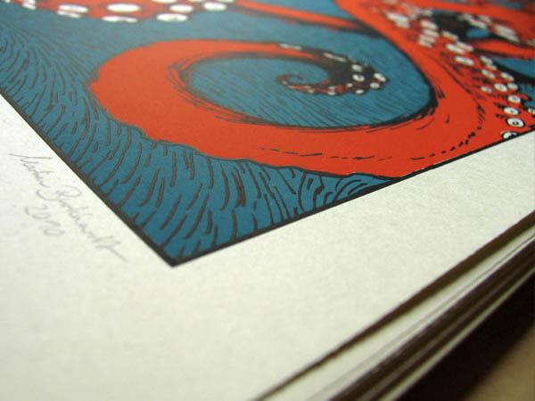 Kraken-Siebdruck von Martin Burkhardt: nummeriert und siegniert